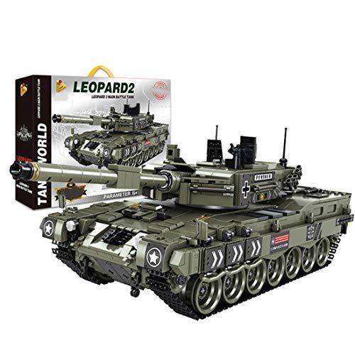 PEXL Technik Panzer Bausteine Bausatz, Deutsch Leopard 2A4 Militär Panzer Modell, 1700 Klemmbausteine und 5 Minifiguren, Kompatibel mit Lego