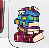 Books - Stack of Books - Library - Stained Glass Style Opaque Vinyl Car Decal - Yadda-Yadda Design Co. (Med 5'w x 6'h)