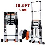 Telescoping Ladder Extension Multi-Purpose 18.5 FT Aluminum Foldable...
