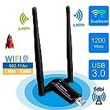sumgott Clé WiFi USB Adaptateur WiFi USB 3.0 Antenne WiFi Dongle Double...