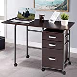 PATIOJOY Folding Computer Desk Wheeled Home Office Furniture with 3 Drawers Laptop Desk Writing Table Portable Dome Apartment Space Saving Compact Desk for Small Spaces (Brown)