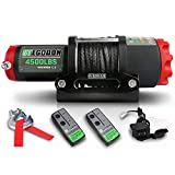 STEGODON 4500 lb. Load Capacity Electric Winch,12V Black Synthetic Rope Winch with Wireless Handheld Remotes and Wired Handle,Waterproof IP67 Electric Winch with Hawse Fairlead(All-Black)