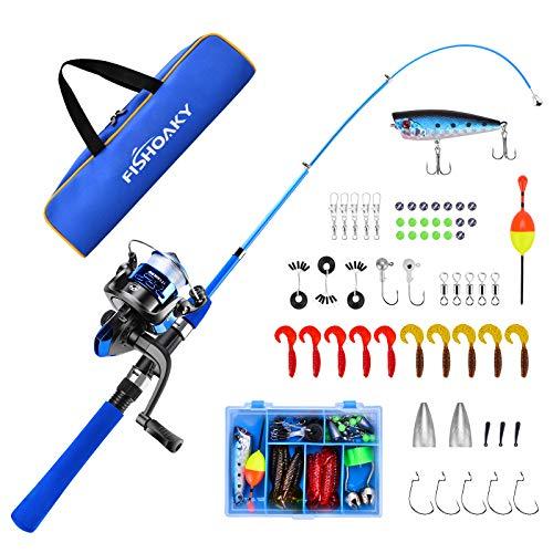 FISHOAKY Kit Completo Canna da Pesca per Bambini Portatile, 1,2 M 3.9 FT Mini Canna da Pesca telescopica con Mulinello, Spinning Combo Canne con Filatoio Lenza Esche Artificiali Borsa da Pesca