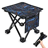 KUYOU Folding Camping Stool, Portable Outdoor Mini Chair Camping Small Seat Barbeque Stool Hold up to 220 lbs for Fishing BBQ Hiking Gardening and Beach, Travel (Blue, M (11.5'))
