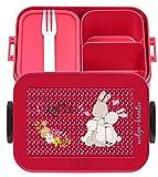 wolga-kreativ Brotdose Lunchbox Bento Box Kinder Hasen Familie mit Namen Mepal Obsteinsatz für Mädchen Jungen personalisiert Brotbüchse Brotdosen Kindergarten Schule Schultüte füllen