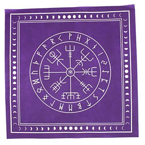 VAILANG 50 * 50cm Mantel de Tarot no Tejido Runa Adivinación Parche de Altar Cubierta de Mesa de Tarot Mantel de Tarot púrpura