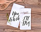 Kitchen Towel Gift Set'You Wash, I'll Dry' Wedding Gift or Anniversary Gift for Him or Her (2 Kitchen Towels)