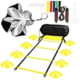 Sport Agility Ladder Speed Training Equipment Set,16 Cones and Resistance Parachute 16 Rung,Jump...