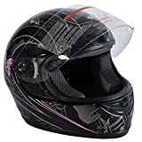 TCT-MT DOT Helmet Motorcycle Pink Black Butterfly Full Face Street Sport (Small)