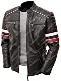 Cafe Racer Jacket Vintage Motorcycle Retro Moto Distressed Leather Jacket (Medium - For Chest 40 - 42, Black - 1)