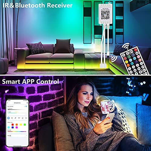Gusodor Led Strip Lights 65.6 Feet Led Lights Music Sync Smart Rope Lights Color Changing Timing with 44 Key Remote App Control RGB Tape Light DIY Colors Led Lights for Bedroom Home TV Party 13