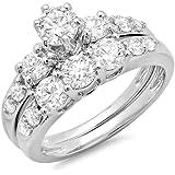 Dazzlingrock Collection 2.00 Carat (ctw) 18k Round Diamond Ladies 3 Stone Bridal Engagement Ring Matching Band Set 2 CT, White Gold, Size 6.5