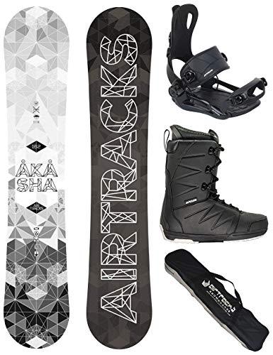 AIRTRACKS Snowboard Set - Planche Akasha Wide 159 - Fixation Master - Softboots Star Black 44 - SB Bag