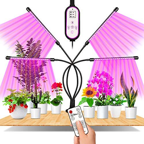 EWEIMA Pflanzenlampe LED, 4 Heads 80LEDs Pflanzenlicht Vollspektrum, 360°Einstellbar LED Grow Lampe Pflanzenleuchte, Wachstumslampe mit Zeitschaltuhr für Gartenarbeit Bonsais