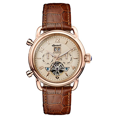 Ingersoll Men's The New England Automatic Watch with Cream Dial and Brown Leather Strap I00901