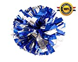 PUZINE Pack of 2 Cheerleading Metallic Foil & Plastic Ring Pom Poms Cheerleading Poms (Blue and Silver)