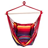 SUNMERIT Hanging Rope Hammock Chair Porch Swing Seat, Large Cotton Hammock Net Chair Swing for Indoor, Outdoor, Garden, Patio, Yard, 275 lbs Capacity, 2 Seat Cushions Included (Red & Yellow Stripes)