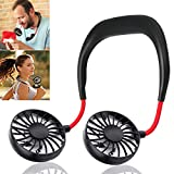 Hand Free Personal Fan - Portable USB Battery Rechargeable Mini Fan - Headphone Design Wearable Neckband Fan Necklance Fan Cooler Fan with Dual Wind Head for Traveling Outdoor Office Room (Black)