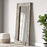 Barnyard Designs 24' x 58' Decorative Wall or Floor Mirror, Rustic Distressed Unfinished Wood Frame,...