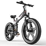 Folding Ebike for Adults 48V 26' 4.0 Fat Tire Bike 25Mph Full Suspension Brushless Motor SHIMAMO 7 Speed Lithium Battery Mountain Ebike