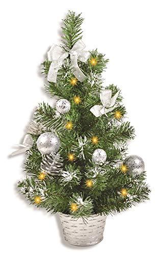 Riffelmacher Geschmückter Weihnachtsbaum beleuchtet 50cm 20258 - Silber - Weihnachtsbaum mit Lichterkette Schleifen Christbaumkugeln