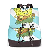 Yuanmeiju Spongebob Womens Mochila de Cuero Multifunction College School Laptop Bookbag