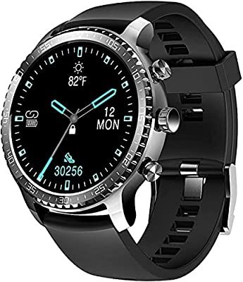 ★ Fitness Watches for Men Women Kids ---Equipped with metallic frame and tpu band, with a 1.3-inch round touch full display, ultra-thin body, 14 different clock face to choose, black and white clock switching at sunrise and sunset, the flower / yello...