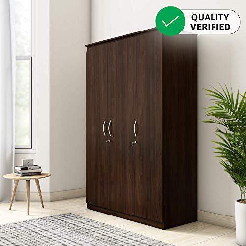 Amazon Brand - Solimo Polaris Engineered Wood 3-Door Wardrobe (Walnut Finish)