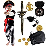 Pirate Costume Kids Deluxe Costume Pirate Dagger Compass Earring Purse for Halloween Party (S)
