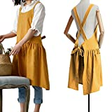 Cotton Linen Cross Back Apron for Women with Pockets for Painting Gardening Yellow with Waist Ties