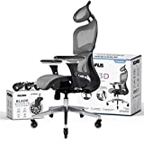 NOUHAUS Ergo3D Ergonomic Office Chair - Rolling Desk Chair with 3D Adjustable Armrest, 3D Lumbar Support and Blade Wheels - Mesh Computer Chair, Gaming Chairs, Executive Swivel Chair (Gray)