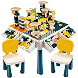 EIH 7-in-1 Multi Kids Activity Table Set, Building Block Table with 2 Chairs 255 PCS Large Building...