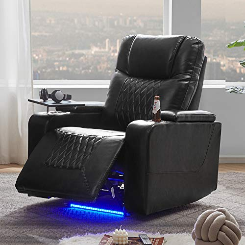 Power Motion Recliner with Ambient Lighting, USB Charge Port, 360 Swivel Tray Table, Hand in-Arm Storage, 2 Convenient Cup Holders, Ambient Lighting Gaming Recliner Chair Home Theater Seating