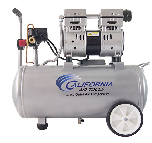 California Air Tools 8010 Ultra Quiet & Oil-Free 1.0 hp Steel Tank Air Compressor, 8 gal, Silver