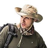 Dsaren Sombrero de Ancho Brim Hombres Sombrero de Pescador Camuflaje del Ejército para Exteriores Pesca Camping Ciclismo Caza Golf Senderismo (Caqui)