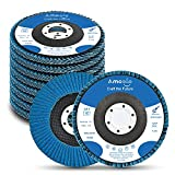 Amoolo 4.5 Inch Flap Discs, 10 PCS-40 Grit Angle Grinder Sanding Wheel, High Density Abrasive Grinding Discs T29 Zirconia for Metal/Wood Grinding (7/8 inch Arbor Size)