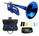 Merano B Flat BLUE/Silver Trumpet with Case+Mouth Piece+Valve Oil+Metro Tuner