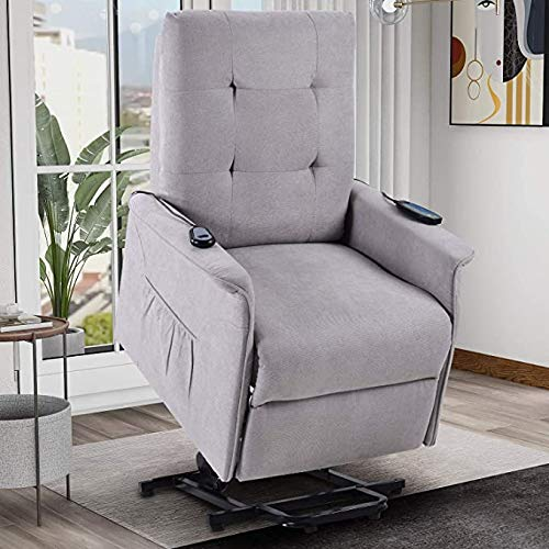 Power Lift Recliner Chair for Elderly with Massage & Vibration Electric Recliner Chair Massage Sofa Microfiber Fabric Living Room Chair with Side Pockets and Remote Control
