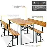 Bierzeltgarnitur mit lehne & breiter Tisch 3 teilig Gartenmöbel-Set - 5