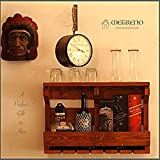 METRENO® Wall Mounted Wooden Wine Rack, Bottle and Glass Holder for Mini Bar Home Decor(Antique Brown)