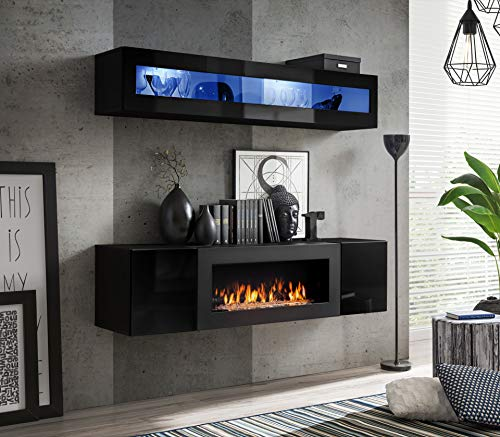 Arizona Ethanol Biofuel Fireplace and Wall Unit Available in 4 Colours with LED Lighting and Glass Top (Black Matt and Black Gloss Front)