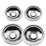 4 Pack Stainless Steel Reflector Bowls Universal Drip Pan Kits Gas Stove Burner Rings for Frigidaire Kenmore 5304430150, 318067051
