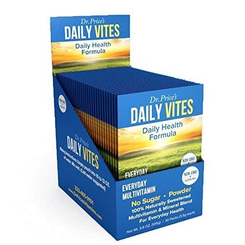 Daily Vites Multi-Vitamin Drink Mix + Minerals, B Complex, Biotin, Vitamin C & D, Calcium, Magnesium, B12 | New 30 Powder Packets Men and Woman's | Dr. Price's Vitamins | No Sugar Non-GMO Gluten Free 1