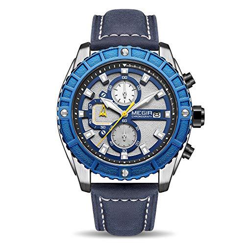 MEGIR Uhren für Herren Mode Lederband Quarz Uhr Mann Wasserdicht Chronograph Armbanduhr mit Leuchtzeiger blau