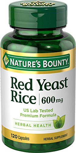 Nature's Bounty Red Yeast Rice Pills and Herbal Health Supplement, Dietary Additive, 600mg, 120 Capsules