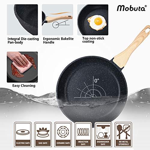 Product Image 3: MOBUTA 3-PCS Nonstick Frying Pan Set Induction Skillet Omelet Pan Egg Pan, PFOA-FREE with Granite Coating, 8+10+11 Inch