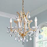 "Saint Mossi Crystal Maria Therese Gold Chandelier Lighting 4 Lights H17"" W18'"
