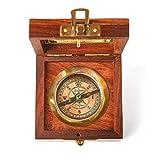 Super7One Antique Vintage Brass Compass in Wooden Box (Brown/Black) (Vintage Brown)…