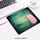 Non-Slip Rubber Base Gaming Mousepad Spooky Scary Dark Fog Forest with Dead Trees and Wooden Table Halloween Horror Theme Print Desktop Computer Mouse Mat