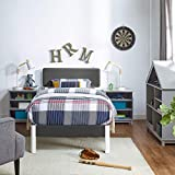 Classic Brands Kiddiewinkle Wood Slat and Metal Platform Bed Frame with Solid Wood Headboard, Twin, White Frame with Grey Headboard